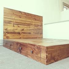 Homemade Rustic Picture Frames Custom Made Reclaimed Rustic Pine Platform Bed With Headboard And