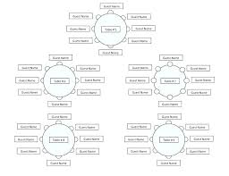 round table seating chart template wedding party dinner microsoft word