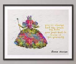 glinda good witch wizard of oz original watercolor canvas painting wall art poster print picture kids on wizard of oz wall art with glinda good witch wizard of oz original watercolor canvas painting