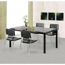 Black Chrome Finish Dining Table 4 Chairs