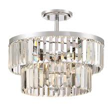 quoizel valentina 15 5 in w polished chrome clear glass semi flush mount light
