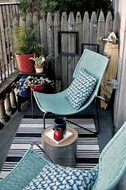 blue rattan outdoor chair small patio