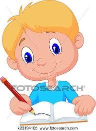 clipart happy boy cartoon writing in a book fotosearch search clip art