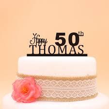 Happy 50th Birthday Cake Topper Nama Kustom Kue Topper 50th Unik