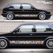 Side Sticker Bomb Set Decal Graphic for VW Volkswagen Golf Mk2 ...