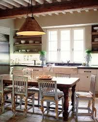 Kitchen Brick Floor Counter Height Table In Kitchen Farmhouse With Cottage Brick Floor