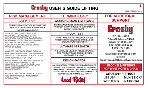 Crosby S User S Guide Lifting