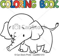 coloring book of little funny elephant or jumbo csp28831313