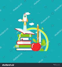 stack of books open book rocket ship apple and rainbow on blue background vector flat ilration reading and learning power logo