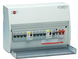 electricals new consumer unit are white plastic circuit breakers and an rcd residual current device a safety mechanism that protects lives every room your