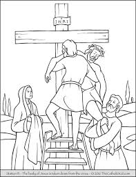 Stations Of The Cross Coloring Pages 13 Body Jesus Is Taken And Lord