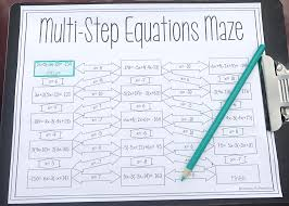 solving multi step equations maze 8th grade mathsolving