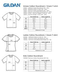 Gildan Shirt Size Chart Unisex Size Chart Gildan Premium Cotton Copattern
