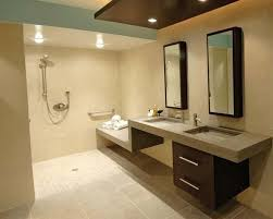 handicap bathrooms for home. this bathroom has good wheelchair accessibility to use sink and built-in shower bench, handicap bathrooms for home