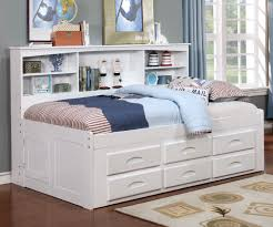 Twin Size Bookcase Captains Day Bed in White 0222