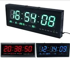 large display led clock details about large led digital square wall watch alarm clock calendar timer