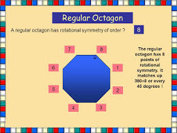 Regular Octagon 8 A regular octagon has rotational symmetry of order