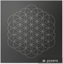 Plakát Květ života Geometrického Tvaru Pérovky Designu Tetování