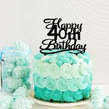 Amazoncom Happy 40th Birthday Cake Topper Black Acrylic Cake
