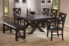 Blackc coated furniture set for dining room with black leather cushioned  bench white wool rug  Darker brown coated dining chairs table ...