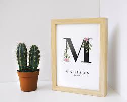 decorative initials wall art inspirational custom nursery print letter m letters decoration baby nursery