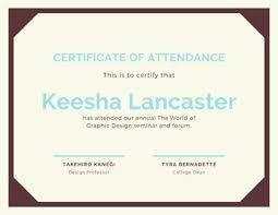 Attendance Award Template Customize 43 Attendance Certificates Templates Online Canva