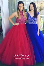 New Ball Gown Design Diamond Bodice And Tulle Skirt Two Piece Ball Gown