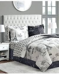 Paris Bed Bargain 8 Piece French Script Black And White Full Comforter Set