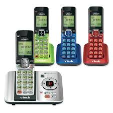 4 handset answering system with caller id call waiting cs6529 4b vtech cordless phones