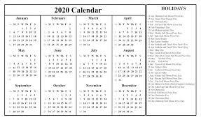 12 Months 2020 Calendar 2020 12 Months Holidays Calendar Free Printable Calendar