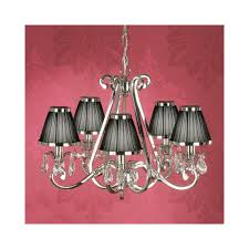 oksana stylish 5 light crystal chandelier in polished nickel finish with black shades 63506