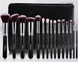 msq reg 15pcs pro makeup brushes set soft goat and synthetic hair natural wood handle make