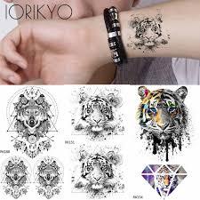 Acquista Iorikyo Triangolo Tribale Tigre Tatuaggi Temporanei Adesivi