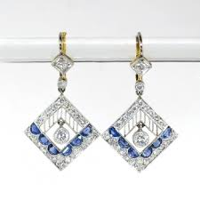 antique edwardian blue sapphire diamond chandelier drop earrings platinum 18k yellow gold
