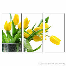 2019 3 panels wall art green spring flowers yellow tulip painting on canvas flower the picture for home modern decor ready to hang wooden framed from