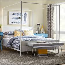 Gray Metal Full Size Canopy Bed And Tufted Leather Bedroom Bench ...