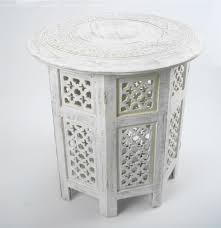 beautiful round brown white hand carved indian shesham wooden coffee table side rtb5va