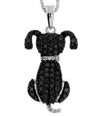 black white diamond dog pendant with chain in white gold plated sterling silver 30