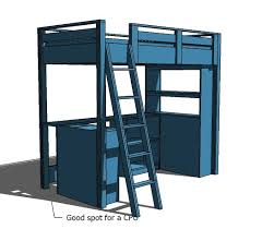 Loft Bed Small Bookcase and Desk
