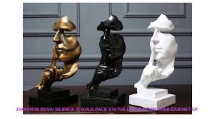 28x9x9cm Resin Silence Is Gold Face Statue Living Room <b>Wine</b> ...