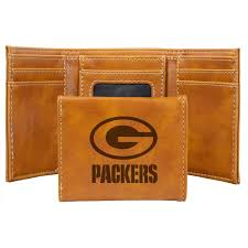 packers laser engraved leather tri fold wallet