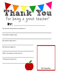 Printable Thank You Cards For Teachers Thank You Teacher Free Printable Teacher Appreciation