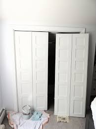 Updating Closet Doors Remodelaholic Bi Fold To Paneled French Door Closet Makeover