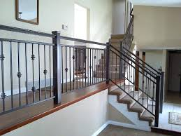 indoor iron stair railing classic living room decor with luxurious baluster  ideas black stained finish st
