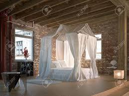 Luxus Loft Schlafzimmer Mit Himmelbett Holz Boden Und Decke Und