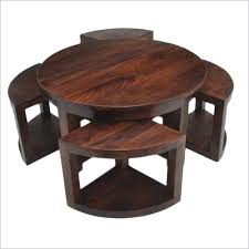 round coffee table with 4 nested chair chairs underneath india