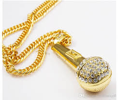 whole new singing ktv wireless microphone rhinestone pendant necklace stainless steel gold plated rope chain collier fashion women men jewelry gold