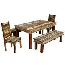 table 2 chairs and bench. sierra reclaimed wood furniture dining table with 2 chairs \u0026 benches and bench i