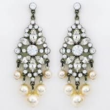 vintage crystal chandelier earrings pearl drops