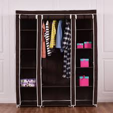 costway 70 portable closet storage organizer clothes wardrobe shoe rack w shelves brown
